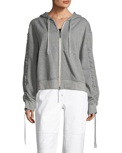 Ashlei Zip-Front Drawstring Hoodie Jacket