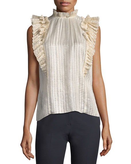 Sleeveless Plaid Pleated Top