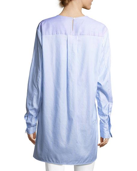 Striped Long-Sleeve Cotton Poplin Long Shirt