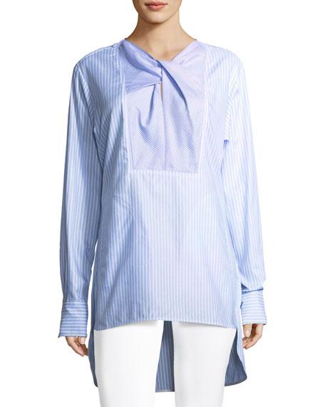Carven Striped Long-Sleeve Cotton Poplin Long Shirt