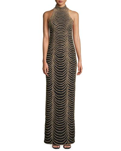 Halter-Neck Long Layered Chain Dress