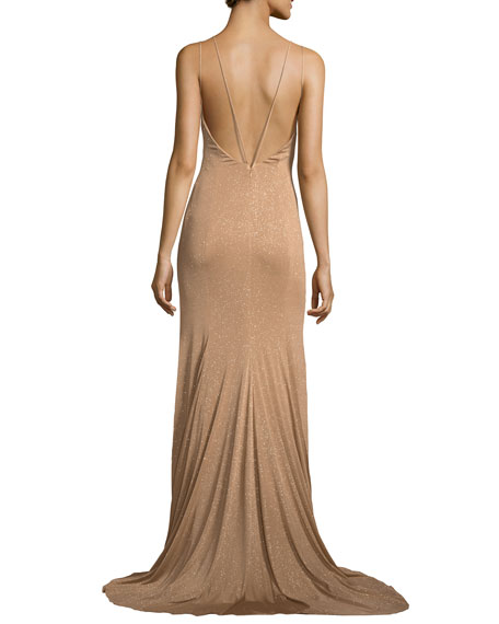 Metallic V-Neck Strappy Gown