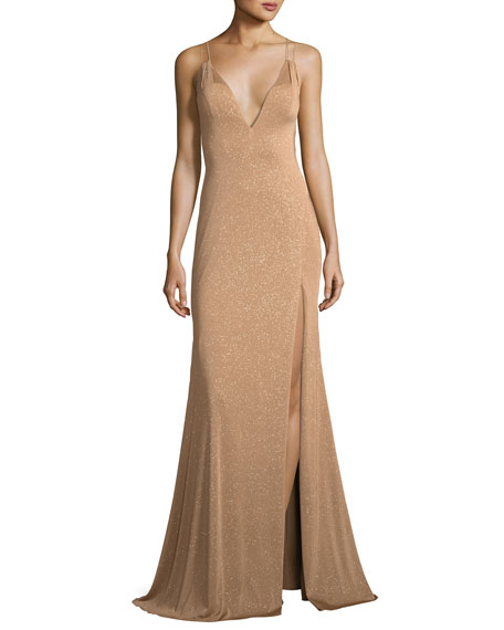 JOVANI Metallic V-Neck Strappy Gown in Gold