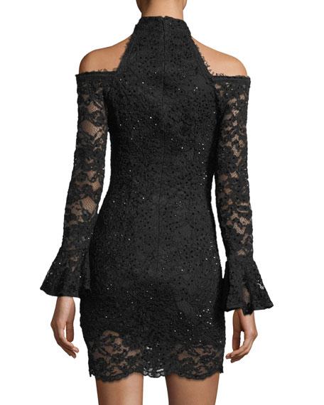 Cold-Shoulder Long-Sleeve Lace Dress
