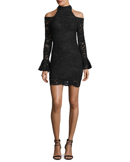 Jovani Cold-Shoulder Long-Sleeve Lace Dress