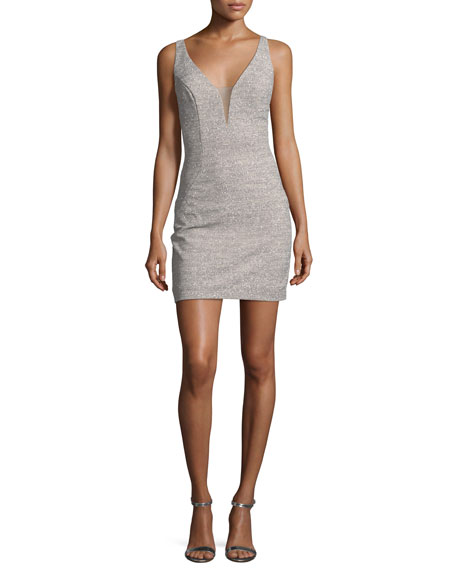Jovani Glitter Deep V-Neck Sheath Mini Dress