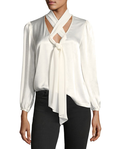Bianka Crisscross-Neck Satin Blouse