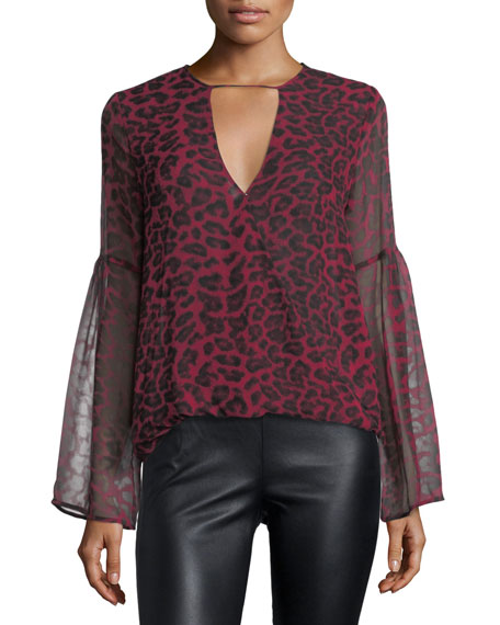 Ella Moss Tigris V-Neck Leopard-Print Silk Chiffon Blouse