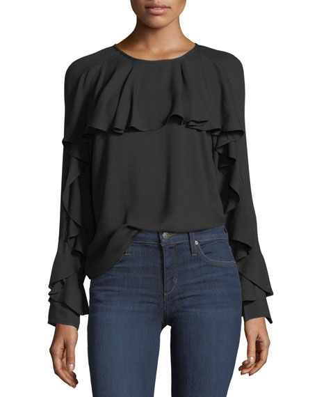 Stella Round-Neck Long-Sleeve Top with Ruffled Trim