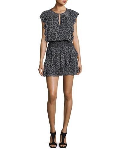 Tigris Sleeveless Leopard-Print Silk Chiffon Mini Dress
