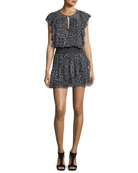 Ella Moss Tigris Sleeveless Leopard-Print Silk Chiffon Mini