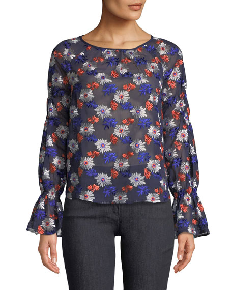 Ella Moss Floral-Embroidered Long-Sleeve Sheer Blouse