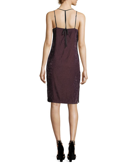 Sleeveless V-Neck Crushed Velvet Camisole Dress
