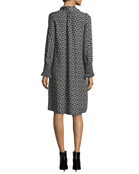 Tie-Neck Long-Sleeve Printed Silk Dress