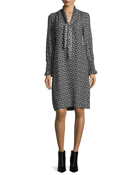 Tie-Neck Long-Sleeve Printed Silk Dress