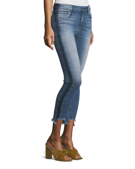 Side-Stripe Twisted Seam Skinny Jeans