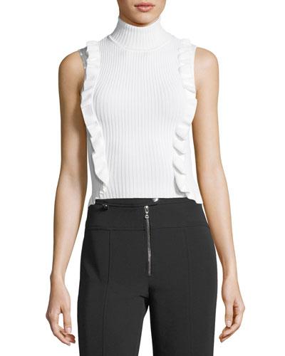 Eleanor Sleeveless Turtleneck Rib-Knit Top