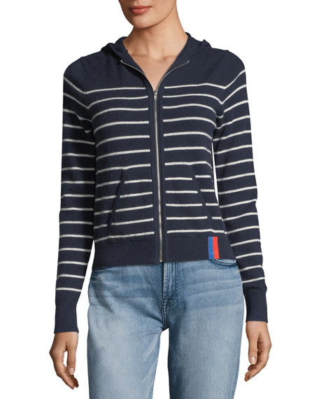 The Drake Zip-Front Striped Cashmere Sweater Jacket