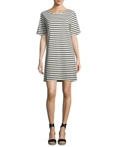 Crewneck Short-Sleeve Striped Tee Dress
