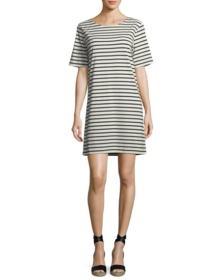 Kule Crewneck Short-Sleeve Striped Tee Dress
