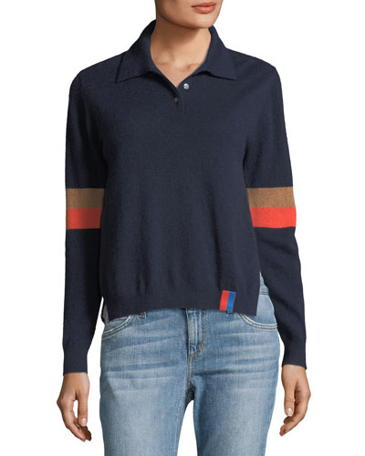 The Purdy Long-Sleeve Cashmere Combo Top