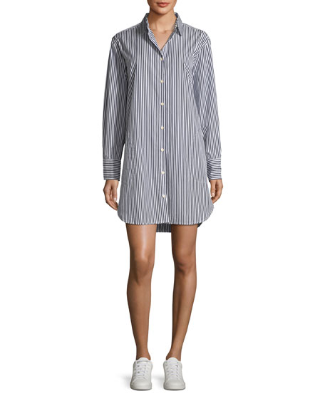 Long-Sleeve Striped Button-Down Shirtdress