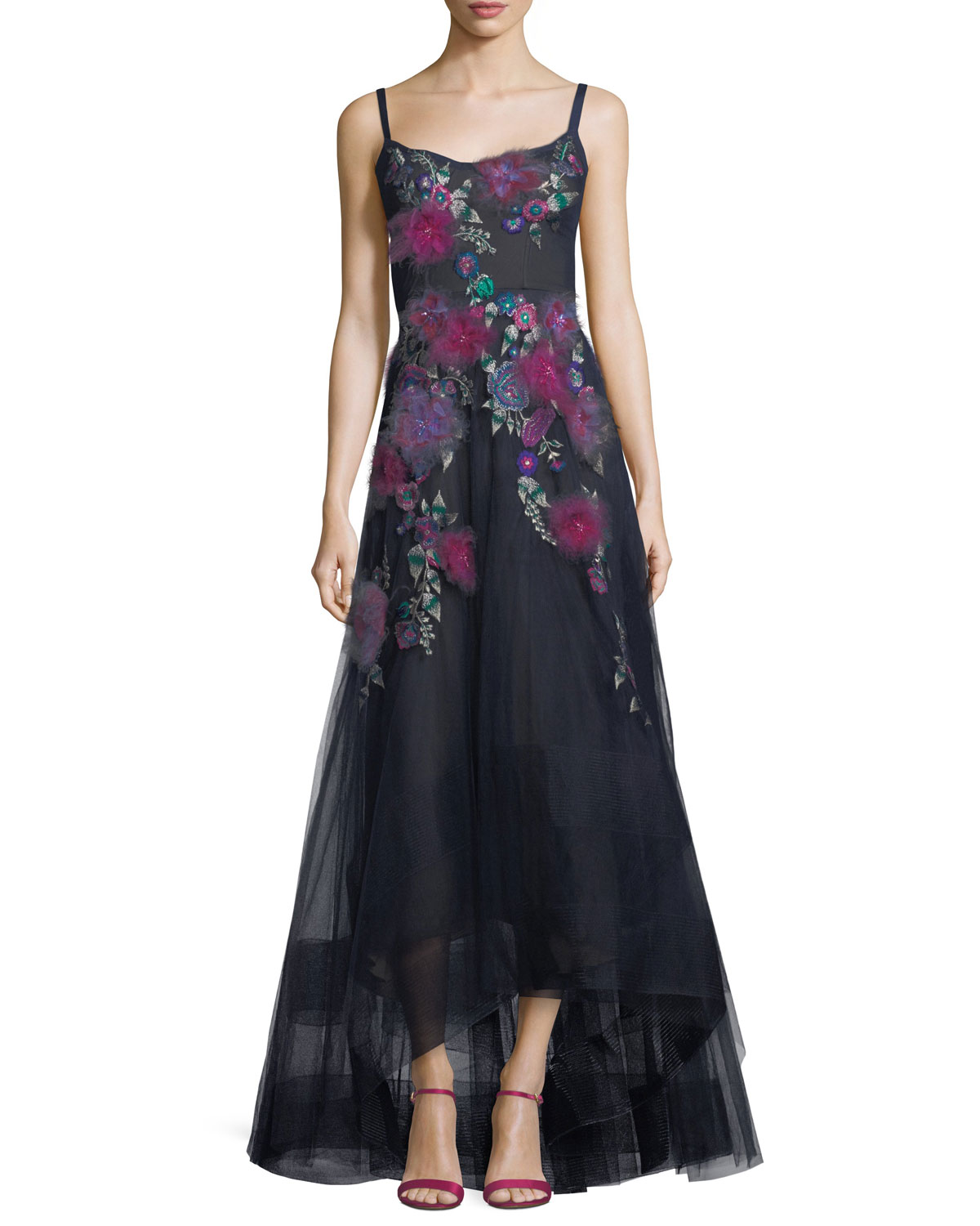 Marchesa Notte Sleeveless Corset High-Low Floral Gown | Neiman Marcus