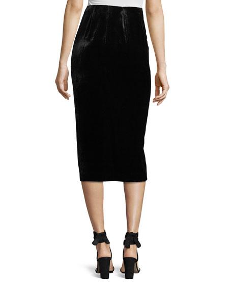 Velvet Midi Pencil Skirt