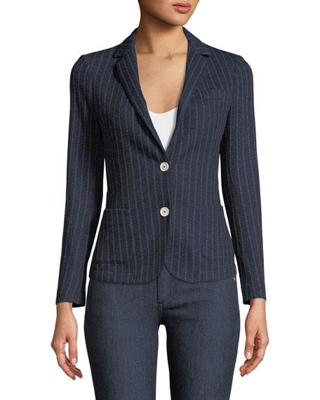 Royal Striped Cotton-Blend Two-Button Jacket
