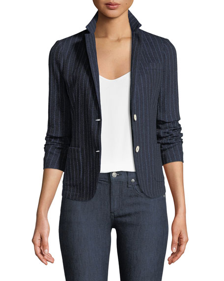Eleventy Royal Striped Cotton-Blend Two-Button Jacket