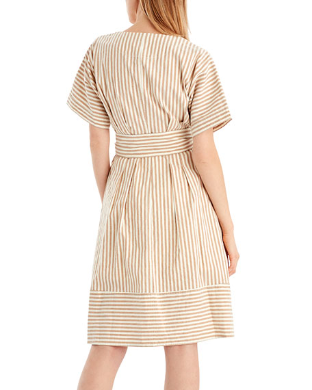 Vintage Striped Linen-Blend Dress