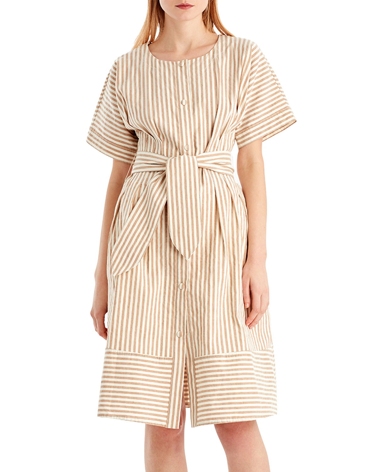 b69fc6174 Jason Wu GREY Vintage Striped Linen-Blend Dress | Neiman Marcus