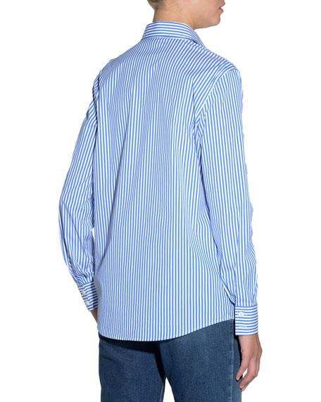 Striped Poplin Classic Blouse