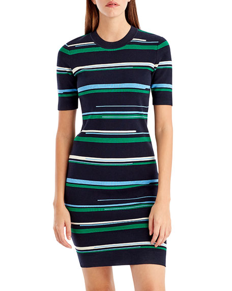 Striped Short-Sleeve Knit Dress