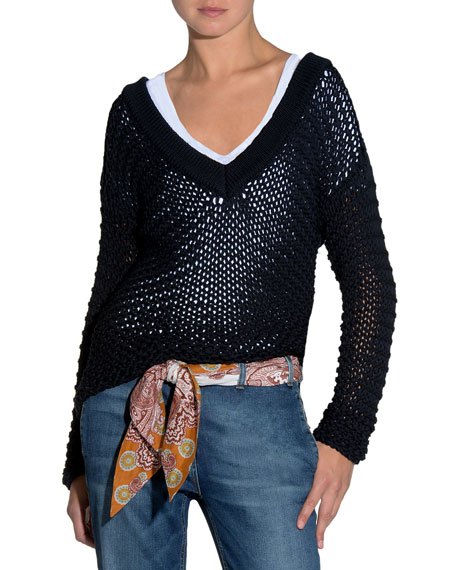 Eleventy Fringed-Trim Metallic-Knit Scarf and Matching Items
