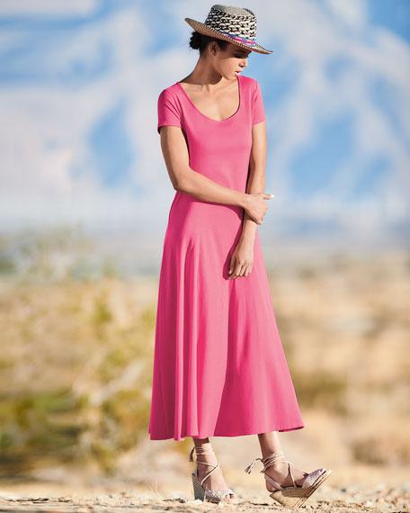 Cotton Interlock Scoop-Neck Maxi Dress