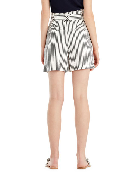 Image 2 of 2: Striped High-Waist Paperbag Shorts