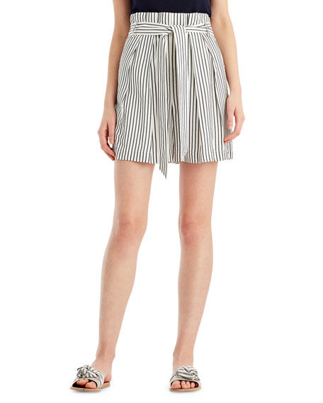 Image 1 of 2: Striped High-Waist Paperbag Shorts