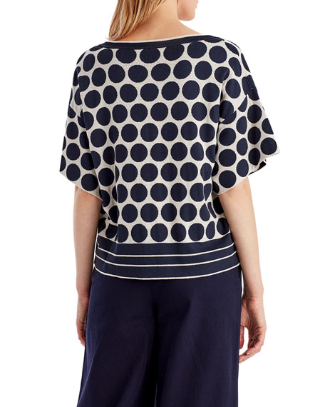 Polka-Dot Short-Sleeve Knit Top