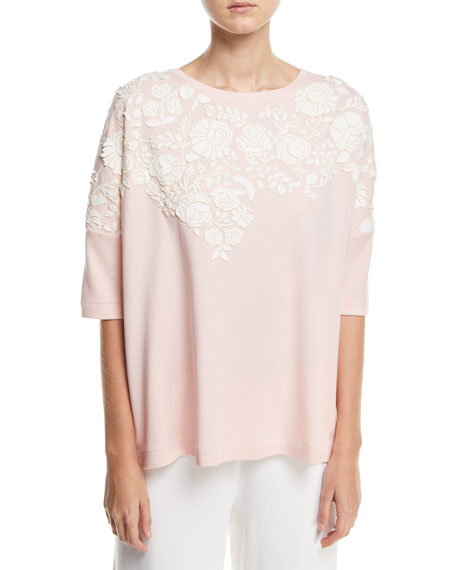 Joan Vass Relaxed Big Tee with Floral Applique,