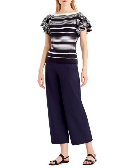 Jason Wu GREY Ruffle-Sleeve Boat-Neck Knit Top