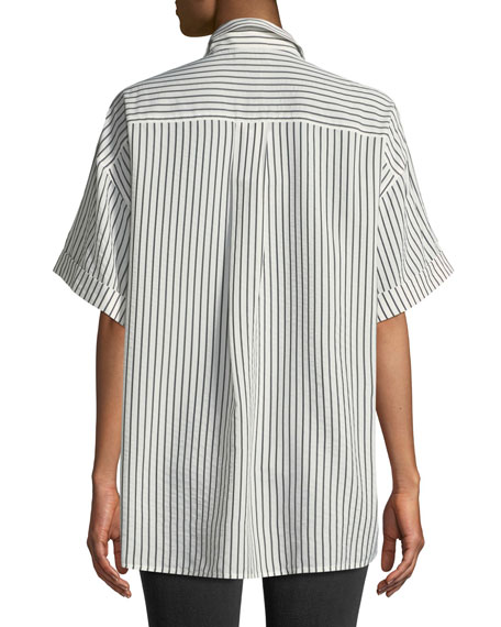 Striped Half-Sleeve Button-Front Blouse