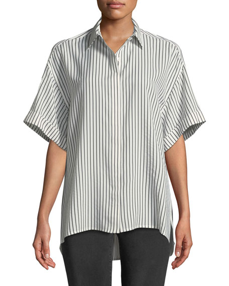 Jason Wu GREY Striped Half-Sleeve Button-Front Blouse