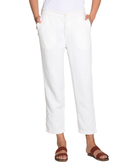 Linen-Blend Capri Pants