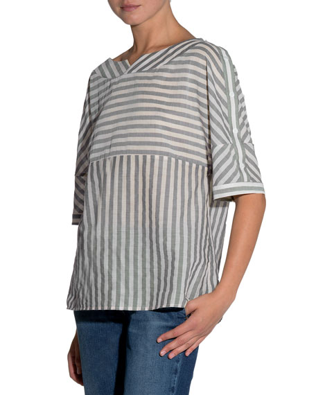 Striped Half-Sleeve Cotton Blouse