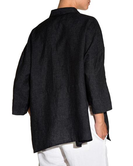 3/4-Sleeve Linen Trapeze Blouse