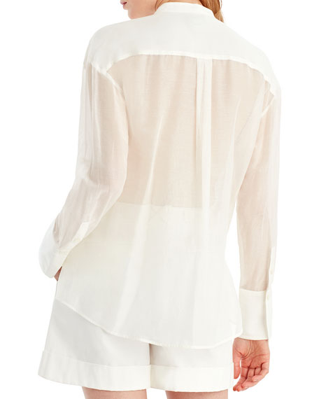 Silk Voile Button-Front Blouse