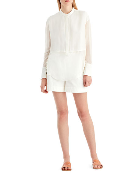 GREY Jason Wu Silk Voile Button-Front Blouse