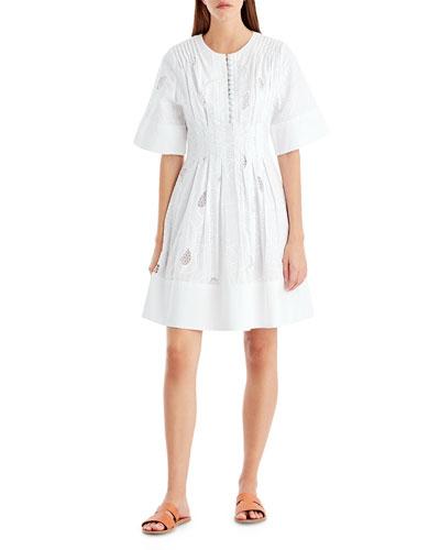 Ribbon Eyelet A-Line Dress