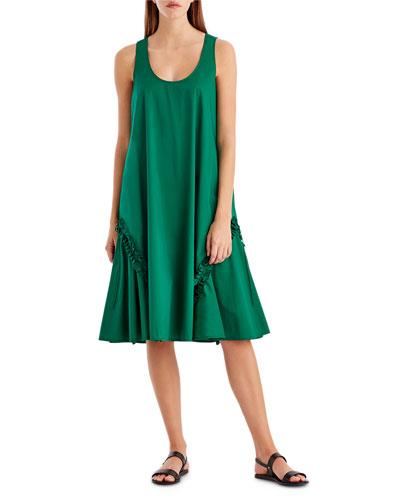 Ruffle-Trim Stretch-Cotton Tank Dress